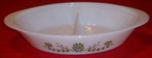Vintage Glasbake Green Floral Divided Vegetable Baking Dish