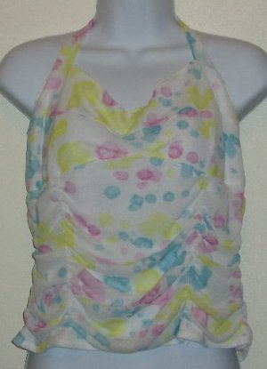 NWOT Ideology Halter Top Size L White Pink Blue Yellow