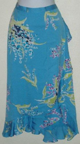 NWT Valerie Stevens Blue Floral 100% Silk Skirt Size 8