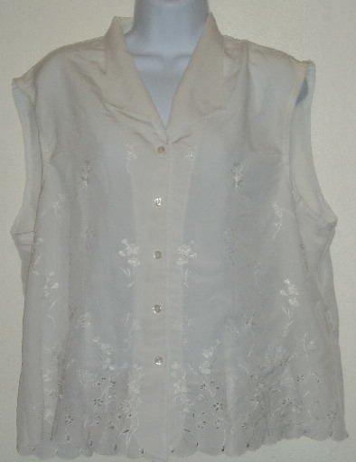 Joanna White Sleeveless Embroidered Blouse/Top Sz. XL