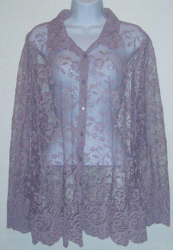 Light Purple George Lace Button Down Shirt/Top Size 18/20
