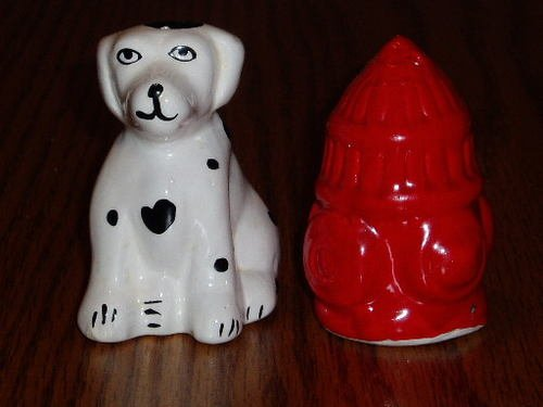 Dalmation Dog and Fire Hydrant Figural S & P Shaker Set