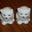 Ceramic Figural White Sitting Cat Salt & Pepper Shakers