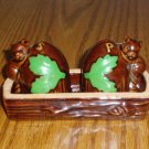 Squirrel and Acorn Salt/Pepper Shaker Set W/Tray