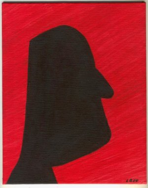 8x10 Original Acrylic Painting A HEAD IN RED Abstract - AsilisArt