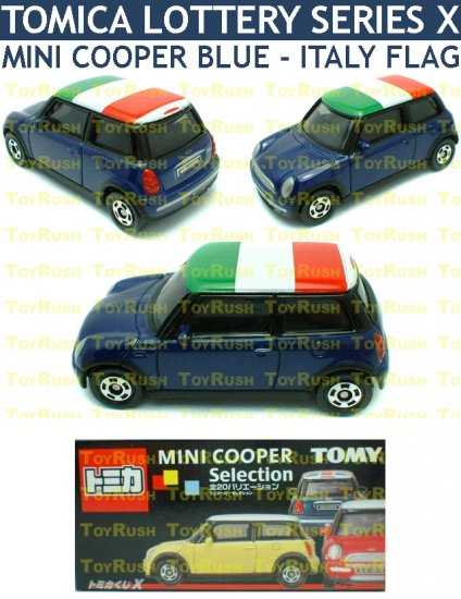 Tomy Tomica Lottery Series X : #L10-10 Mini Cooper Blue With Italy Flag Top