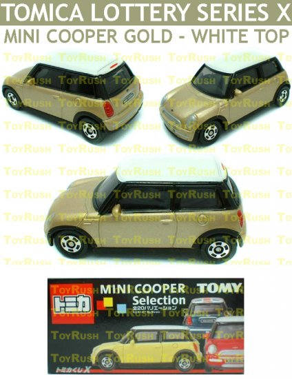 Tomy Tomica Lottery Series X : #L10-17 Mini Cooper Gold With White Top