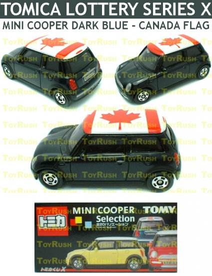 Tomy Tomica Lottery Series X : #L10-20 Mini Cooper Dark Blue With Canada Flag Top