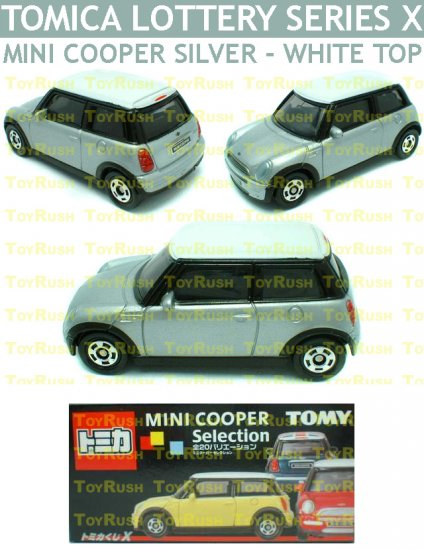 Tomy Tomica Lottery Series X : #L10-03 Mini Cooper Silver With White Top