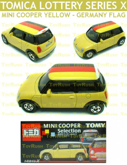 Tomy Tomica Lottery Series X : #L10-06 Mini Cooper Yellow With Germany Flag Top