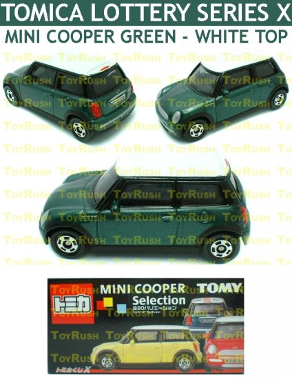 Tomy Tomica Lottery Series X : #L10-07 Mini Cooper Green With White Top