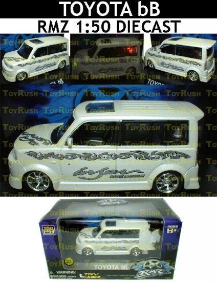 RMZ Diecast : White Toyota bB With Sound, Lights & Pull Back Function