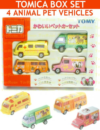 Tomy Tomica Box Set : 4 Small Animal / Pet Vehicles