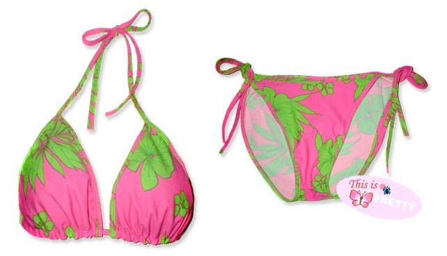 New Hot Pink Green Tropical String Bikini Top & Matching Tie Sides Bottom