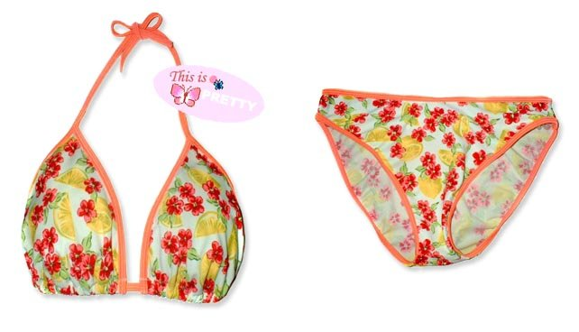 New Orange Daisy Lemons String Bikini Top & Matching Bottom