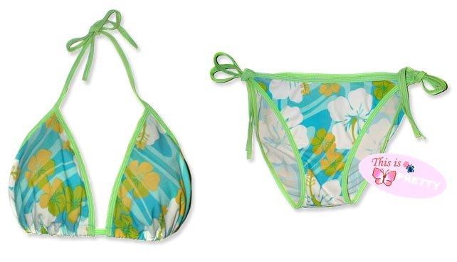 New Green Blue-Yellow Tropical String Bikini Top & Matching Tie Sides Bottom