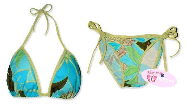 New Green Blue Tropical String Bikini Top & Matching Tie Sides Bottom