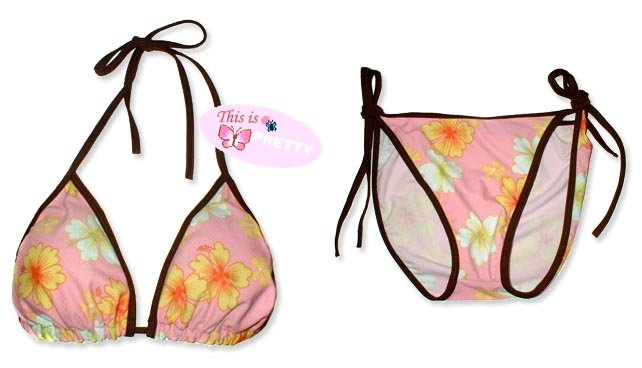 New Brown Pink Tropical String Bikini Top & Matching Tie Sides Bottom