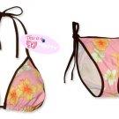 New Brown Pink Tropical String Bikini Top & Matching Tie Sides Bottom