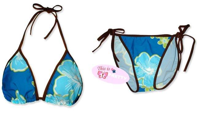 New Brown Blue Tropical String Bikini Top & Matching Tie Sides Bottom