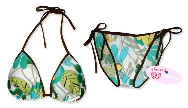 New Brown Blue-Green Tropical String Bikini Top & Matching Tie Sides Bottom