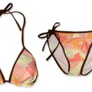 New Brown Orange Daisy String Bikini Top & Matching Tie Sides Bottom