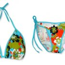 New Blue Hawaiian Tropical String Bikini Top & Matching Tie Sides Bottom