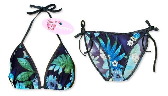 New Dark Blue Tropical String Bikini Top & Matching Tie Sides Bottom