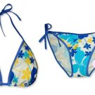 New Blue Yellow Tropical String Bikini Top & Matching Tie Sides Bottom