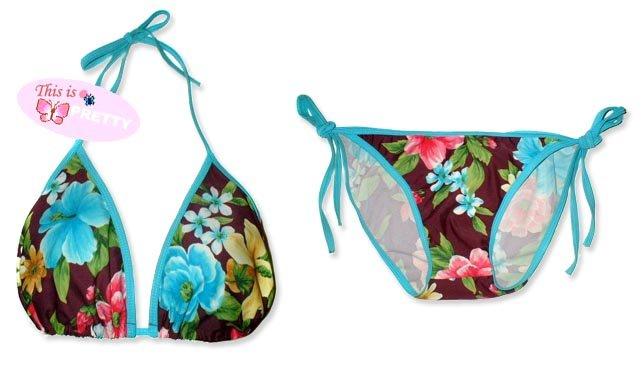 New Blue Purple Tropical String Bikini Top & Matching Tie Sides Bottom