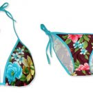 New Blue Purple Tropical String Bikini Top & Matching Tie Sides Bottom