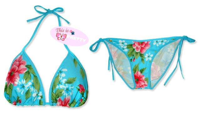 New Blue Pink Tropical String Bikini Top & Matching Tie Sides Bottom