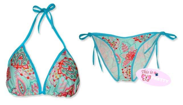 New Blue Pink Paisley String Bikini Top & Matching Tie Sides Bottom