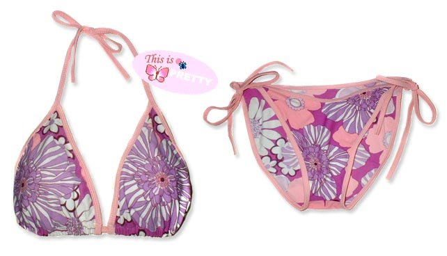 New Pink Purple Tropical String Bikini Top & Matching Tie Sides Bottom