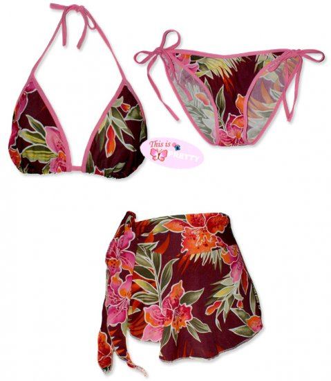 New Pink Tropical String Bikini Top With Matching Tie Sides Bottom & Cover Skirt