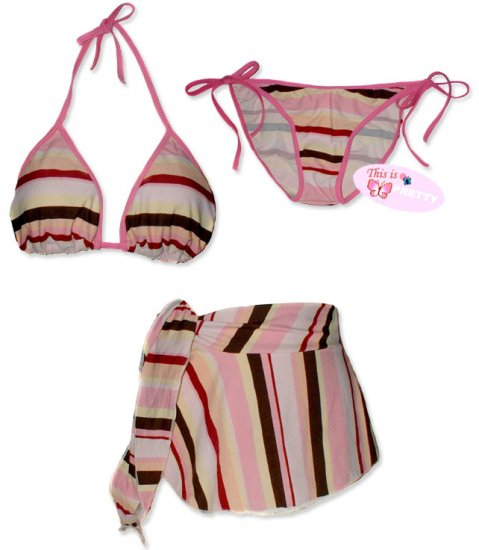 New Pink Stripes String Bikini Top With Matching Tie Sides Bottom & Cover Skirt