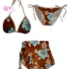 New Brown-Blue Hawaiian String Bikini Top With Matching Tie Sides Bottom & Cover Skirt
