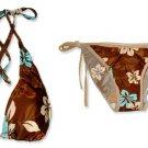 New Brown Blue Halter Bikini Top & Matching Tie Sides Bottom