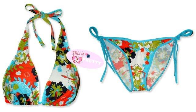 New Blue Hawaiian Tropical Halter Bikini Top & Matching Tie Sides Bottom
