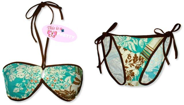 New Brown Green Tropical String Bandeau Bikini Top & Matching Tie Sides Bottom