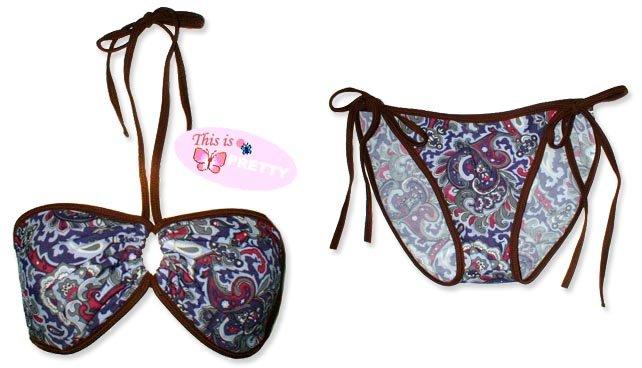 New Brown Purple Paisley String Bandeau Bikini Top & Matching Tie Sides Bottom
