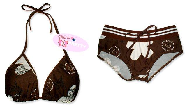 New Sporty Brown White Tropical String Bikini Top & Matching Ribbon Boyshort