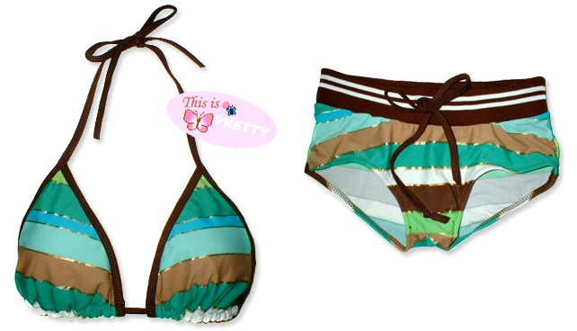 New Sporty Brown Gold Stripes String Bikini Top & Matching Ribbon Boyshort