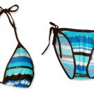 New Brown Blue Stripe String Bikini Top & Matching Tie Sides Bottom