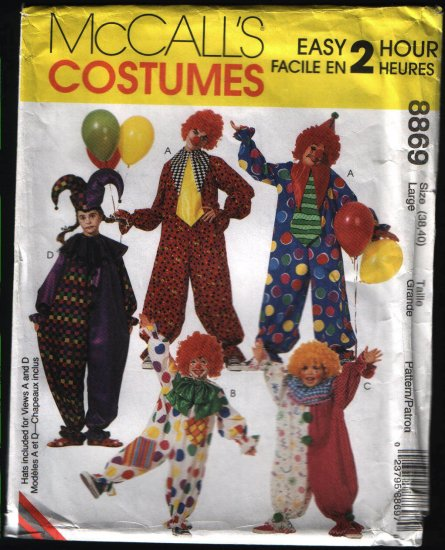 McCalls 8869 Sewing Pattern Clown Costume Size 38 40 Adult Large Unisex Uncut