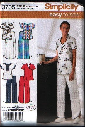 Simplicity 3705 Misses Scrub Top and Pants Size 16 18 20 22 24 Uncut
