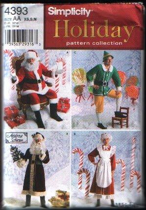 Simplicity 4393 Santa Mrs Claus Elf Costume Sewing Pattern XS S M