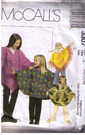 Mccalls 3307 Sewing Pattern Children Unisex Ponchos Pull-on Pants Szs M L XL