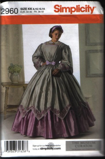 Simplicity 2960 Sewing Pattern Civil War Renaissance Costume Dress Pattern Sz 8 10 12 14