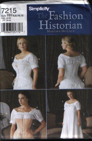Simplicity 7215 Sewing Pattern Historian Renaissance Undergarments Costume Pattern Sz 6 8 10 12